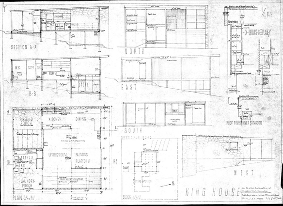 Drawings of the King House and Studios, 1952. 