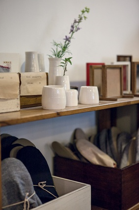 Showroom sells pottery, furniture, slippers, T-shirts and homewares.
