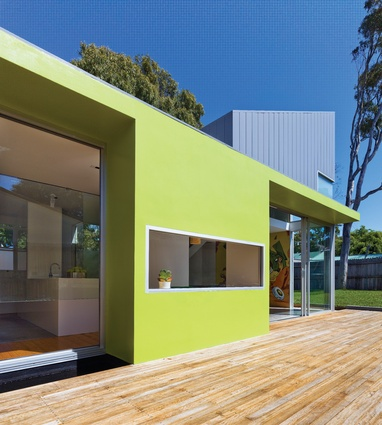 The Lilyfield House, an addition to a wooden corner cottage, is recognizable for its bright, fresh colour palette.