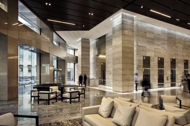The lift and services core sits back into a heart-shaped plan, freeing up space for a grand lobby.