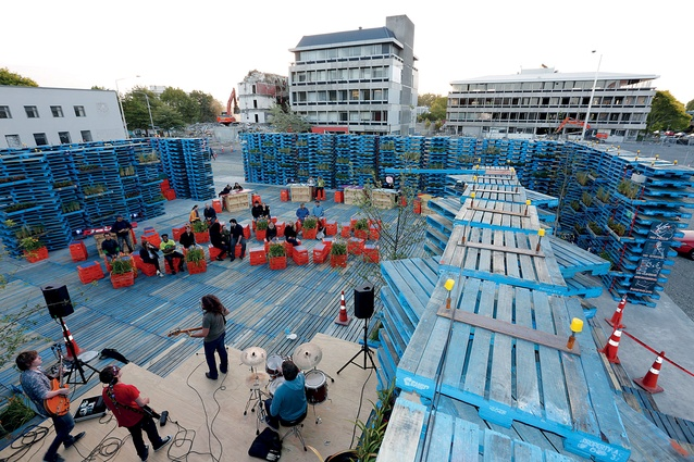 About 300 volunteers gave around 3,000 volunteer hours to construct the Gap Filler Pallet Pavilion – inspiration for the new development model.