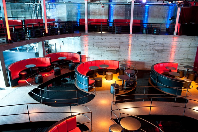 Inside the DUMBO Arts Center; circular seating in the cafe.