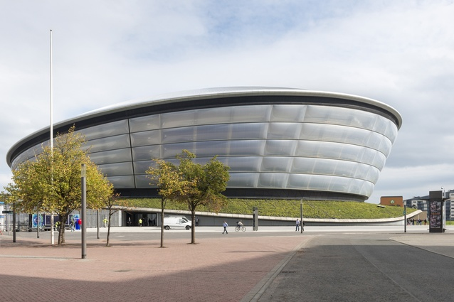 SSE Hydro Arena, Glasgow by Foster + Partners, 2014. The façades of the large arena are clad in translucent ETFE panels, onto which patterns and images can be projected at night.
