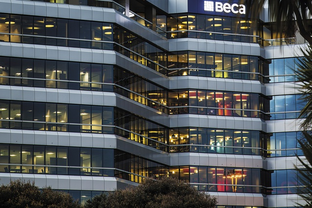 Beca House, former home to the Auckland Regional Council. Beca's tenancy is spread across a number of levels, each of which has a distinctive colour scheme.