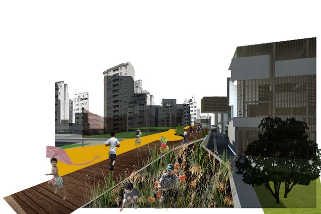 """Urban Resuscitation - Regenerating downtown São Paul, Brazil"" MArch (Prof) thesis project 2010, UoA. Repairing urban fabric by activating derelict highway infrastructure to create meaningful public spaces."