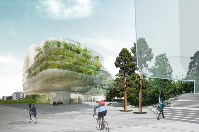 Future project: Stockholm Offices by Urban Design AB and SelgasCano. The greenery from the neighbouring park will continue into the building through its ETFE double-façade skin.