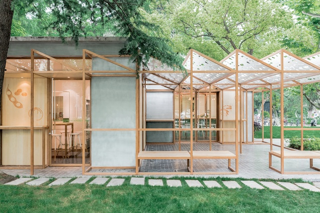 One of Baobao's Shanghai eateries at Tongji University. The concept plays with a greenhouse form, using timber frameworks to define both interior and exterior schemes.