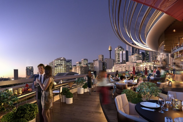 Rooftop restaurant and bar at The Darling Exchange by Kengo Kuma and Associates.