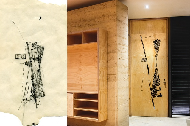 An original sketch of the house is laser-cut into the back of the front door.