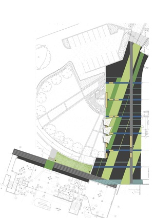 A plan of the scheme of paintwork applied to the ground plane of this plaza off Wellesley Street.