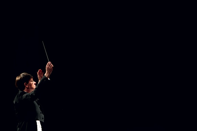 Eckehard Stier, music director of the Auckland Philharmonia Orchestra (APO), at the heart of darkness, on stage at the reworked ASB Theatre in Auckland.