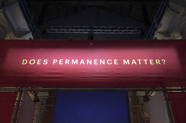 "Signage reading ""Does permanence matter?"" at the entrance to the Arsenale."