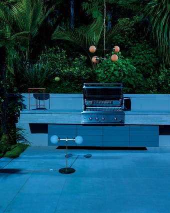 """Fisher & Paykel DCS 36"""" Built-in Grill. Lamps by Douglas and Bec (details below)."""