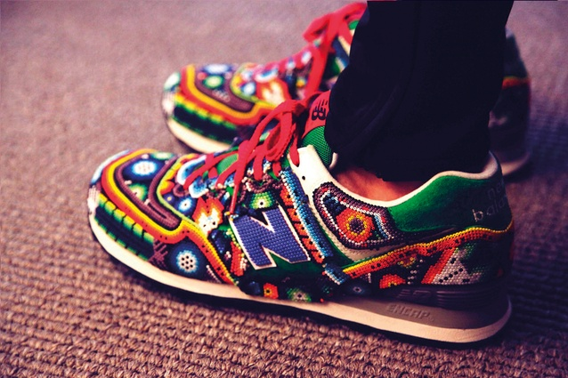 Limited edition New Balance sneakers by Ricardo Seco, not available for purchase.