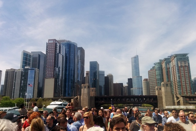 Looking back to the city from the mouth of the Chicago River.