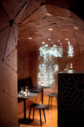 The laser-cut walls of Milse, a dessert restaurant in Auckland's Britomart, by Cheshire Architects.