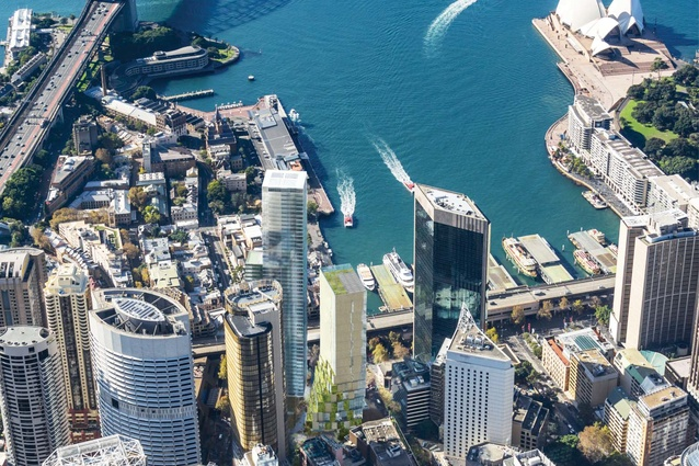 The proposed hotel tower designed by Kengo Kuma and Associates and Crone will form part of a bookend to the redevelopment of a strip of Circular Quay.