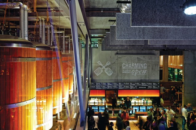 With its giant brewery overhead, the main beer hall highlights the process of brewing.