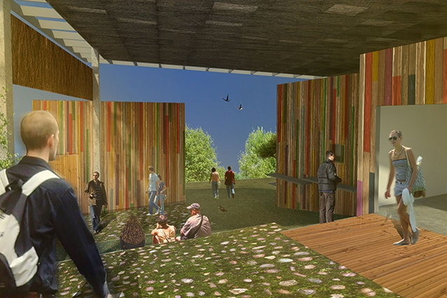 Artist's impression of the Longbush Ecosanctuary Welcome Shelter.