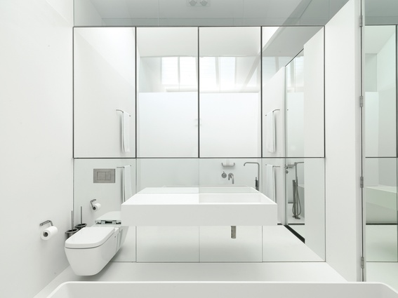 White takes on a clean and slightly clinical look in this bathroom by Ian Moore.