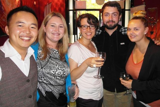 Enoch Liew with finalist Rhys Vincent and fellow students Josie Alvaro, Lauren Ryder and Bec Hood.
