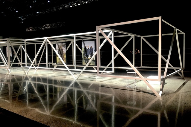 Completed space frame installation ready to house the Salasai models for the NZFW 2016 opening show at Auckland Viaduct Centre.