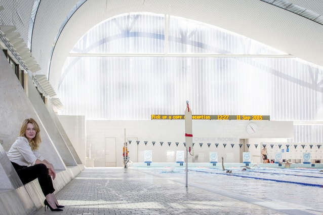 Anna Funder at Ian Thorpe Aquatic Centre designed by Harry Seidler & Associates, Sydney, NSW, 2015.