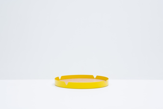 """<a  href="""" http://store.timwebberdesign.com/collections/all-products/products/press-tray"""" target=""""_blank""""><u>Tim Webber Design</u></a> Press Tray in Schweppes Yellow  $199."""