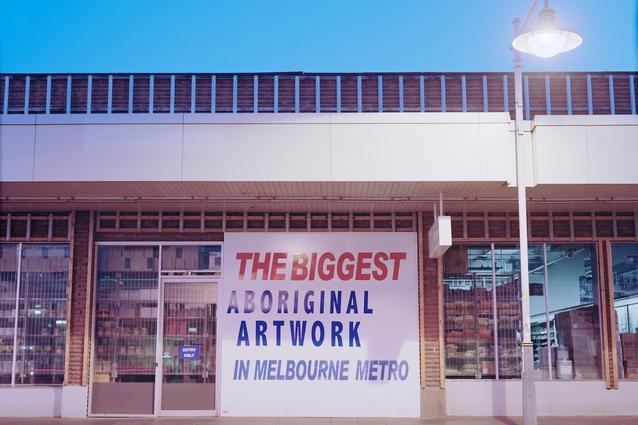 <i>The Biggest Aboriginal Artwork in Melbourne Metro</i> by Steven Rhall, 2014.