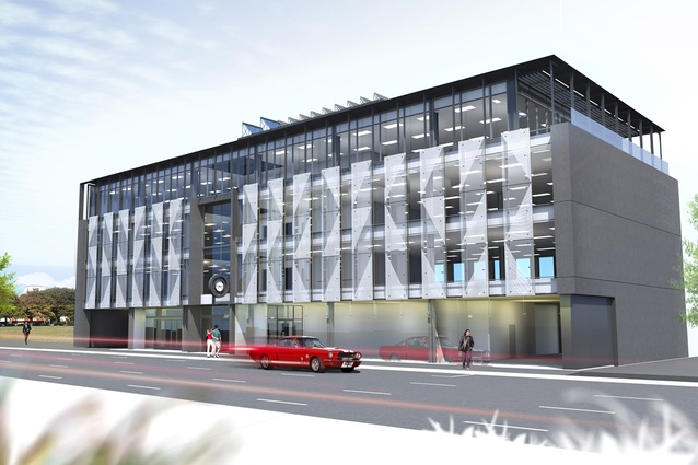Completion date – December 2012. Harcourts/Grenadier building, 271 Madras Street,  by MAP Architects. Ground floor retail and cafe with three floors of offices overlooking Latimer Square. Decorative glass screens and a clock salvaged from the original building animate the facade.