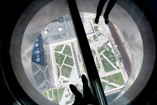View from inside the CCTV Headquarters building in Beijing by OMA.