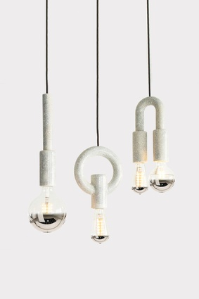 I-O-N pendants show off the light bulbs.