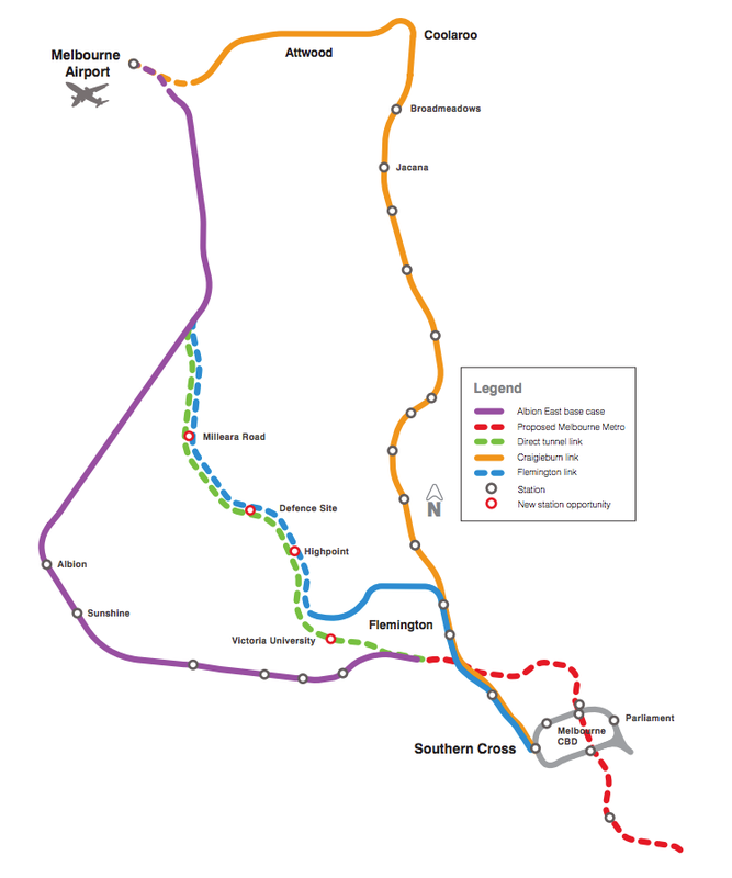 The four possible routes identified in Public Transport Victoria's 2012 Melbourne Airport Rail Link Study.