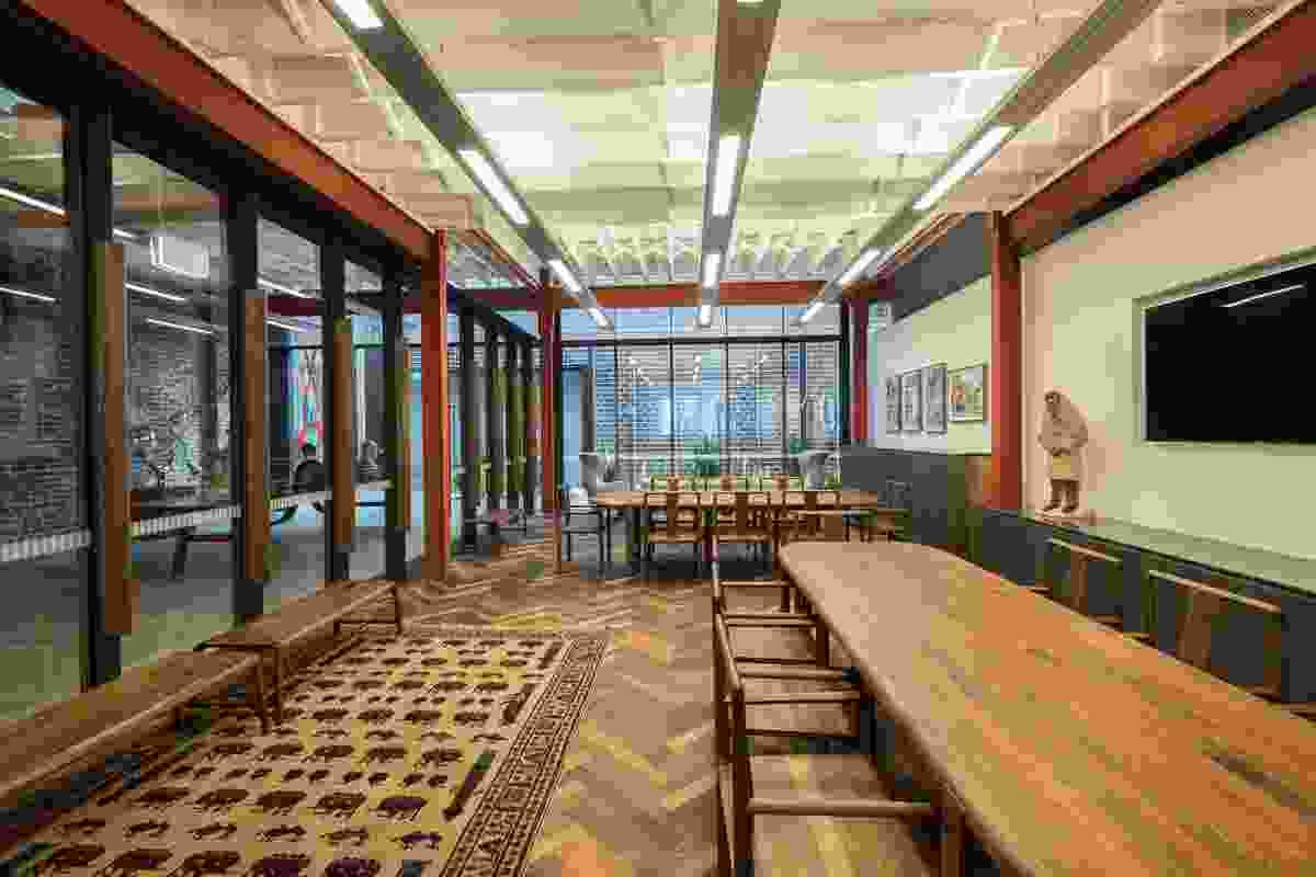 """The client wanted the meeting spaces to feel like """"rooms in a home"""" and this has been achieved through a careful selection of furnishings and artworks."""