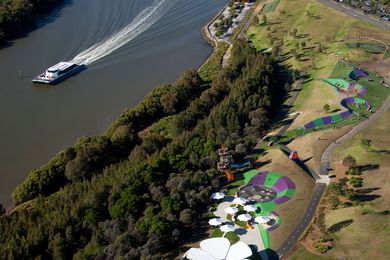 An aerial shot showing stage 1 and 2 of Blaxland Riverside Park.