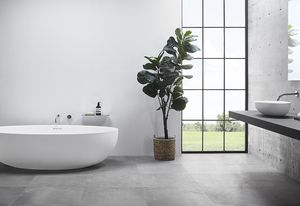 The Claybrook Ellipse bath and Ellipse bench-mounted basin.