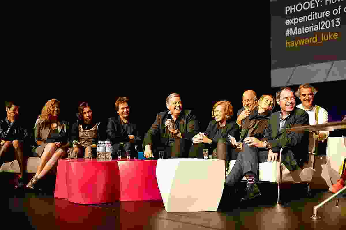 The final discussion with guest speakers (from left): Manuelle Gautrand, Virginia San Fratello, Emma Young, Philippe Rahm, Matthias Kohler, Billie Faircloth, Kathrin Aste, Tim Greer. At rear are Carey Lyon and Jose Selgas.