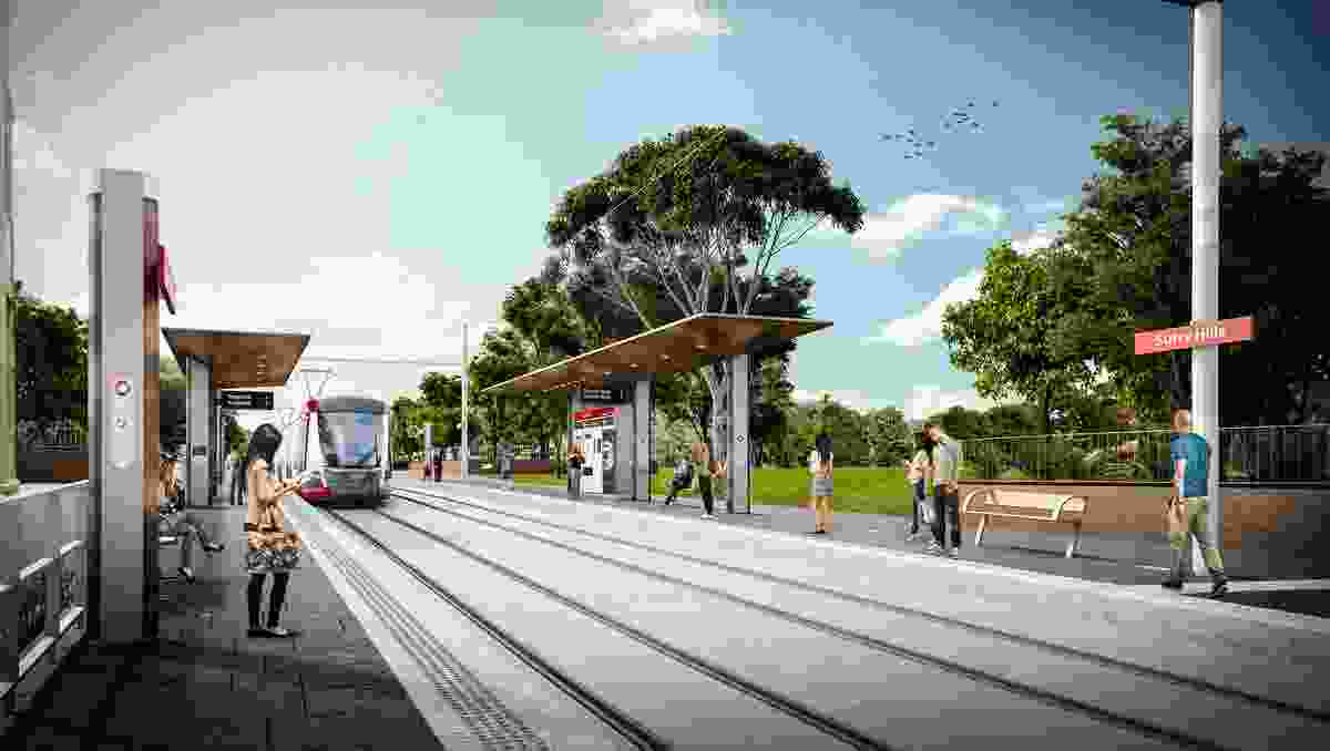 Design of the Sydney CBD and South East Light Rail stop at Surry Hills by Grimshaw Architects.