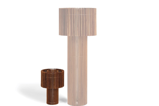 Wood Floor lamp has a solid teak and stainless steel structure.