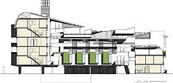 Overview and section of Gresley Abas Architects' (WA) entry, placed equal third.