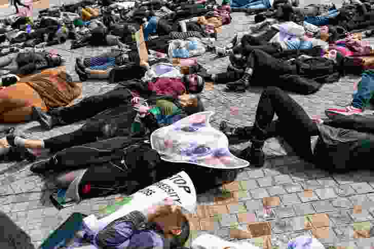 """Delegates participated in a biodiversity """"die-in"""", protesting against the impacts of urban development on biodiversity."""