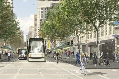A concept image for a pedestrianized Elizabeth Street.