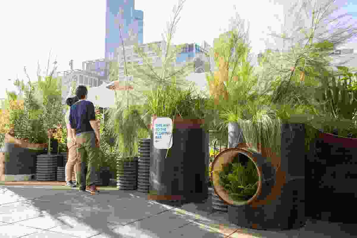Landscaping elements were created from decommissioned concrete and steel stormwater drains.