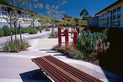 Some of the work at Strathmore Secondary College by Simon and Freda Thornton Architects. The path to the main entry of the college, showing landscaping by Taylor Cullity Lethlean.