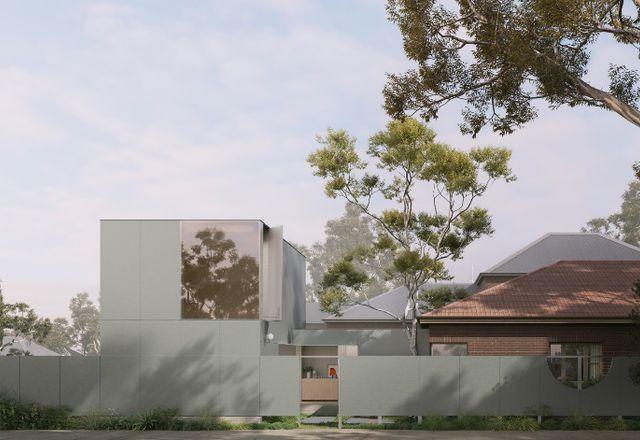 Hardie™精美的纹理在角落房子的覆盖物由建筑实践restallack汤普森。