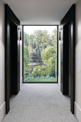 Framed vistas to the eucalypts and the river guide guests through the hotel passages.