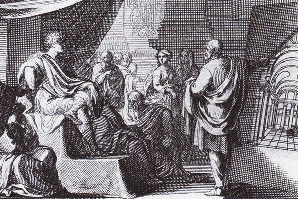 Vitruvius by Sebastian Le Clerc (1684) - Vitruvius (right) presents De Architectura to Augustus.