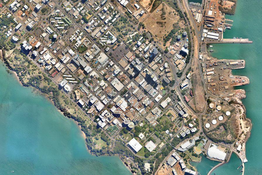 Aerial photograph of Darwin's CBD.