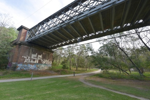 An underneath view of the Chandler Bridge.