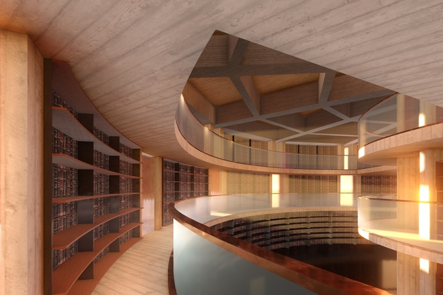A three-level library in the MONA Hotel, HOMO, designed by Fender Katsalidis Architects.